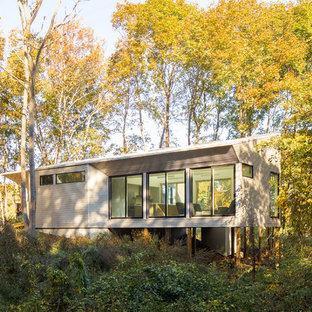 Cette photo montre une façade de maison tendance de plain-pied avec un toit en appentis.