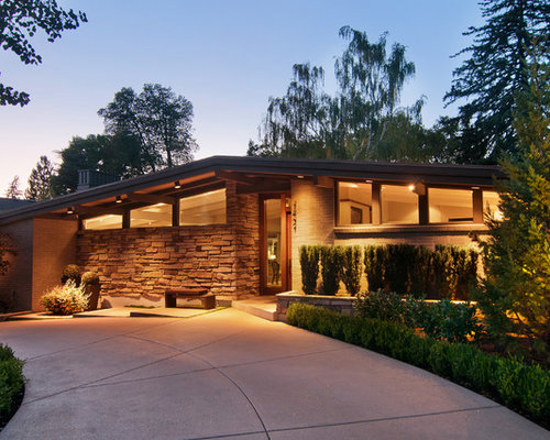 Mid century modern exterior home design ideas pictures for Single story mid century modern house plans