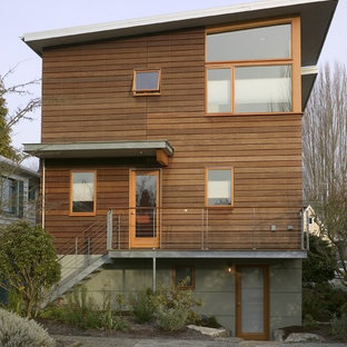 Trendy two-story exterior home photo in Seattle