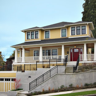 Inspiration for a craftsman wood exterior home remodel in Seattle