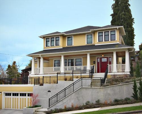 yellow house red door | houzz