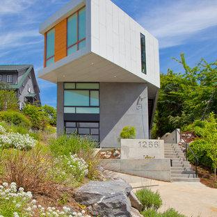 Ispirazione per la facciata di una casa grigia contemporanea a due piani con rivestimenti misti