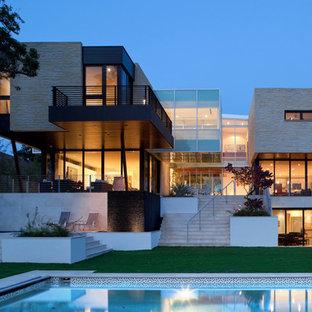 Idee per la facciata di una casa moderna con rivestimento in pietra