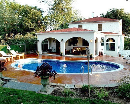 Mediterranean style home addition with pool and pation for Pool design mcmurray pa