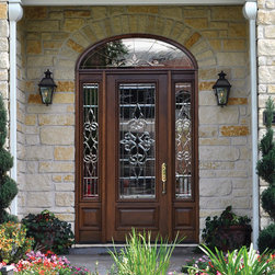 Prehung sidelites transom door 96 mahogany courtlandt 3 4 for Triple french doors exterior