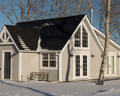 Exceptional Example Of A Small Country White Gable Roof Design In Calgary