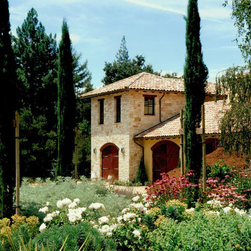 Tuscan House Style With Front Walkway And Italian Cypress: Mediterranean Exterior Design Ideas, Remodels & Photos