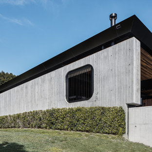 This is an example of an industrial concrete grey house exterior with a shed roof.