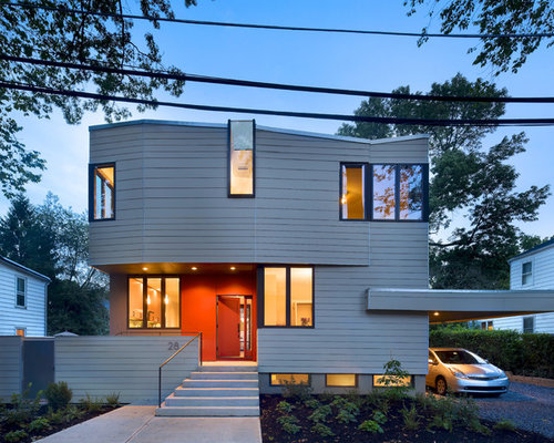Mid Sized Trendy Gray Two Story Exterior Home Photo In New York