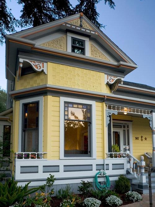 Victorian Yellow Exterior Design Ideas Remodels Photos
