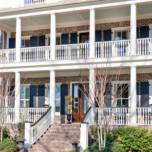 Inspiration for a timeless brick exterior home remodel in Charleston
