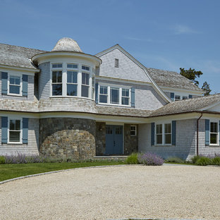 Inspiration For A Beach Style Two Story Mixed Siding Exterior Home Remodel  In New York