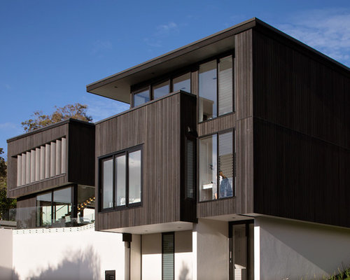 Minimalist Brown Two Story Exterior Home Photo In Auckland Part 48