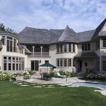 Rear Elevation of Country French Home in Stone and Stucco