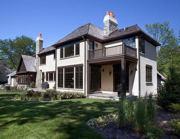 Rear Elevation of Stone and Stucco Chateau in Northbrook