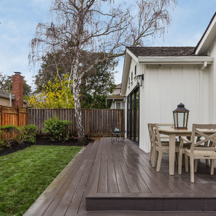 Inspiration for a mid-sized farmhouse white two-story wood exterior home remodel in San Francisco with a shingle roof