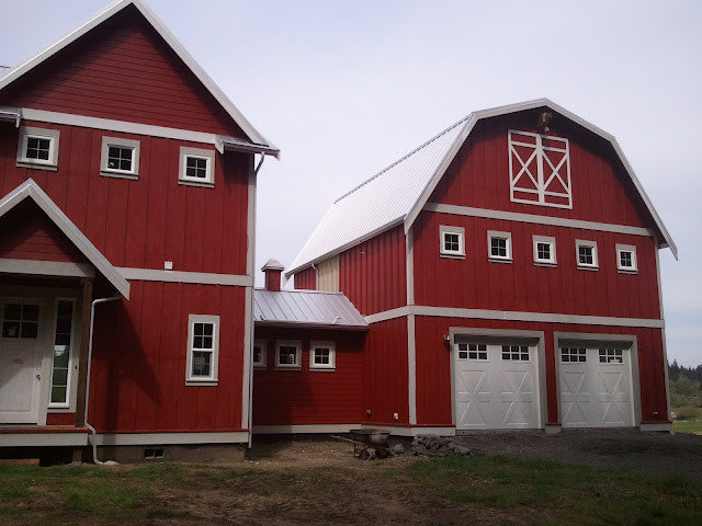 Eclectic Exterior Red Barn Farm House