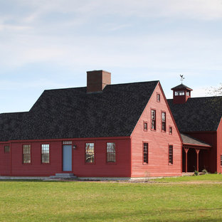Inspiration For A Country Red Two Story Exterior Home Remodel In Portland Maine