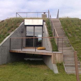 Modelo de fachada verde, ecléctica, de tamaño medio, con tejado plano y revestimiento de hormigón