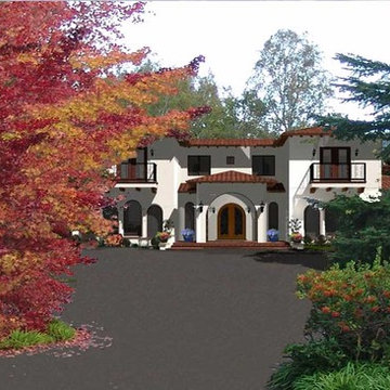 Rendering of Proposed New Spanish Mediterranean Style New Home