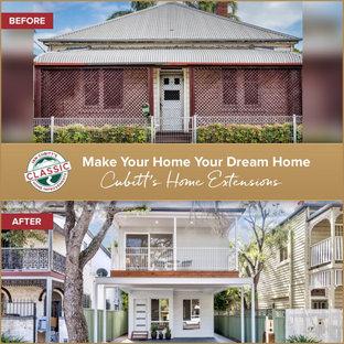 Inspiration för ett litet vintage vitt radhus, med två våningar, blandad fasad och tak i metall