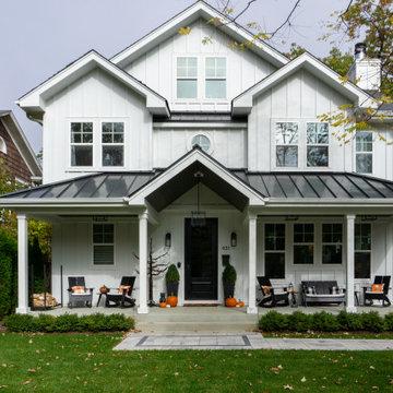 Renovation of cottage-like Craftsman to Modern Farmhouse, Highland Park, IL