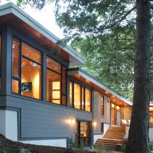 Trendy wood exterior home photo in Boston