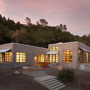 Inspiration för ett funkis hus, med allt i ett plan och platt tak