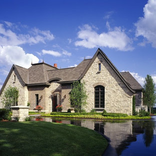 Inspiration for a timeless stone exterior home remodel in Detroit