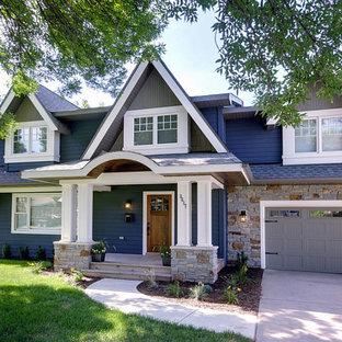 Idee per la facciata di una casa verde american style a un piano con rivestimento in vinile