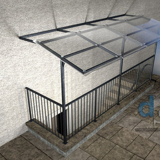 Richmond Hill residence glass and metal canopy 3D drawing