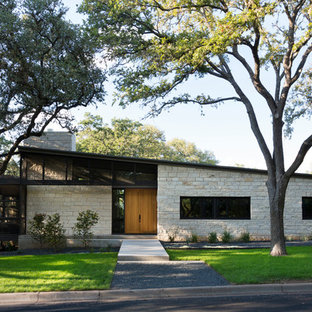 Example of a minimalist one-story stone exterior home design in Austin with a shed roof