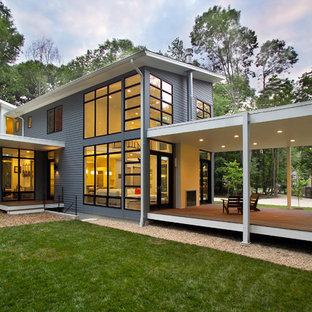 Inspiration for a contemporary blue exterior home remodel in DC Metro