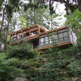 Foto della facciata di una casa unifamiliare verde contemporanea a due piani di medie dimensioni con rivestimento in legno e copertura mista