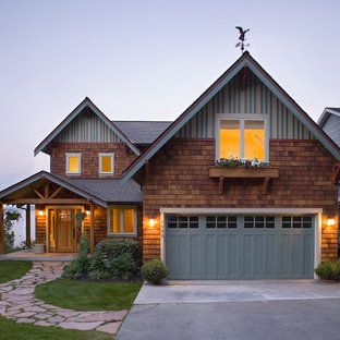 Rustic wood gable roof idea in Seattle