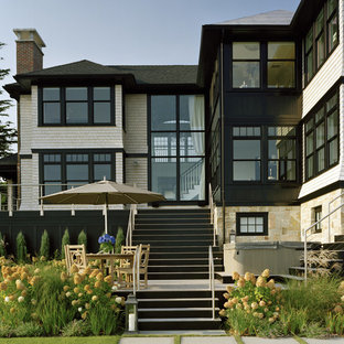 Transitional stone exterior home photo in Boston