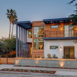 Contemporary multicolored two-story mixed siding exterior home idea in Los Angeles