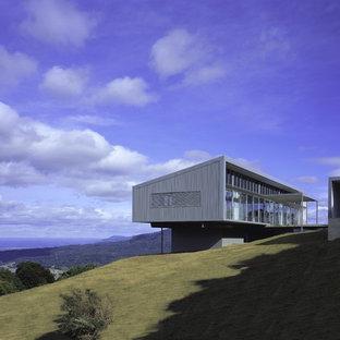 Ejemplo de fachada minimalista con revestimiento de metal