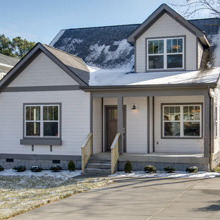 Mid-sized craftsman gray two-story mixed siding gable roof idea in Nashville