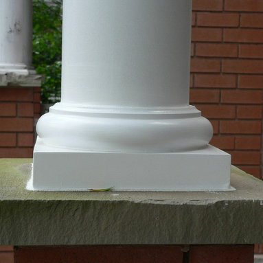 Round Tuscan Column Base - A close up look at one of the Round Tuscan bases installed with one of our columns.