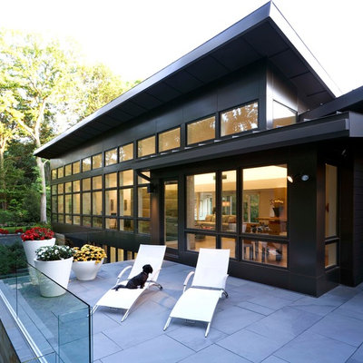 Trendy black two-story exterior home photo in Detroit with a shed roof