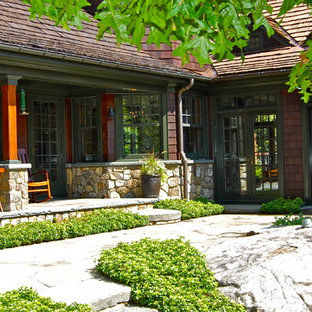 Inspiration for a timeless stone exterior home remodel in New York