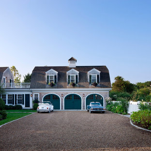 Beach style wood exterior home idea in Boston with a gambrel roof