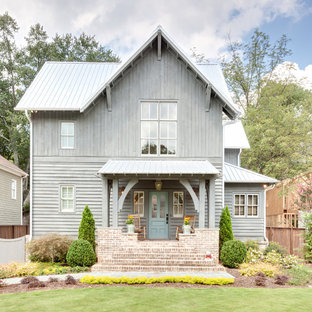 Mid-sized country gray two-story wood gable roof idea in Atlanta