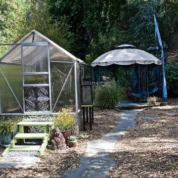 Rustic Modern Backyard Retreat With Tin Tile Greenhouse & Gazebo