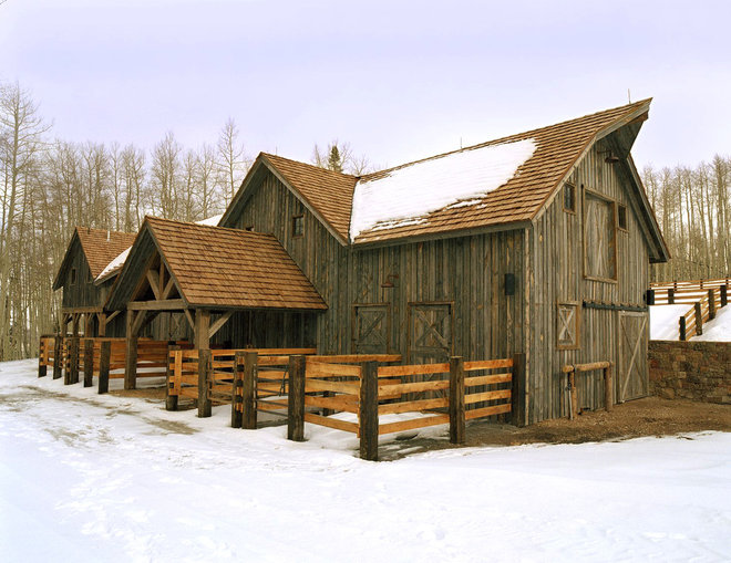 Rustic Garage And Shed by JLF & Associates, Inc.