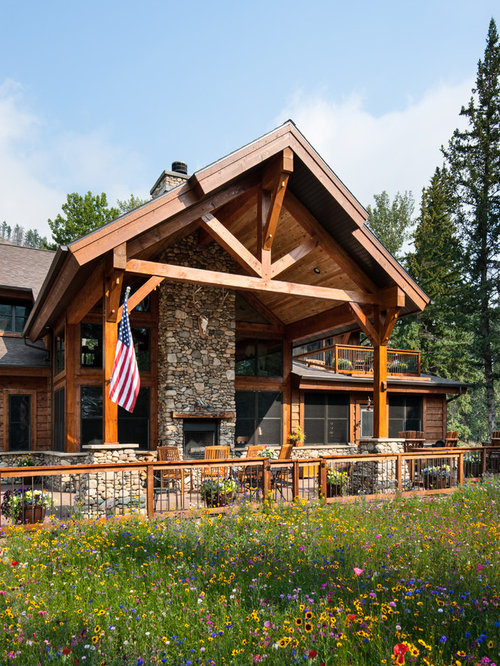 Rustic Timber Frame Home Rock Creek Montana Cabin Residence