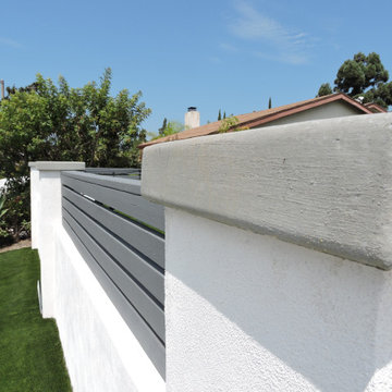 San Diego - Front Landscape 92128 Artificial Turf - CMU Concrete wall build with