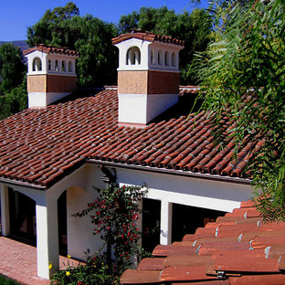 Santa Barbara style Spanish Fireplace Chimney and roof