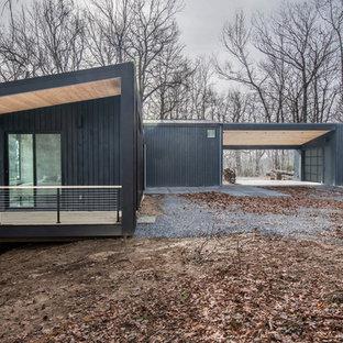 Idéer för nordiska svarta hus, med allt i ett plan och pulpettak